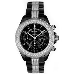 Chanel Black Ceramic and Diamonds J12 Chronograph Wristwatch