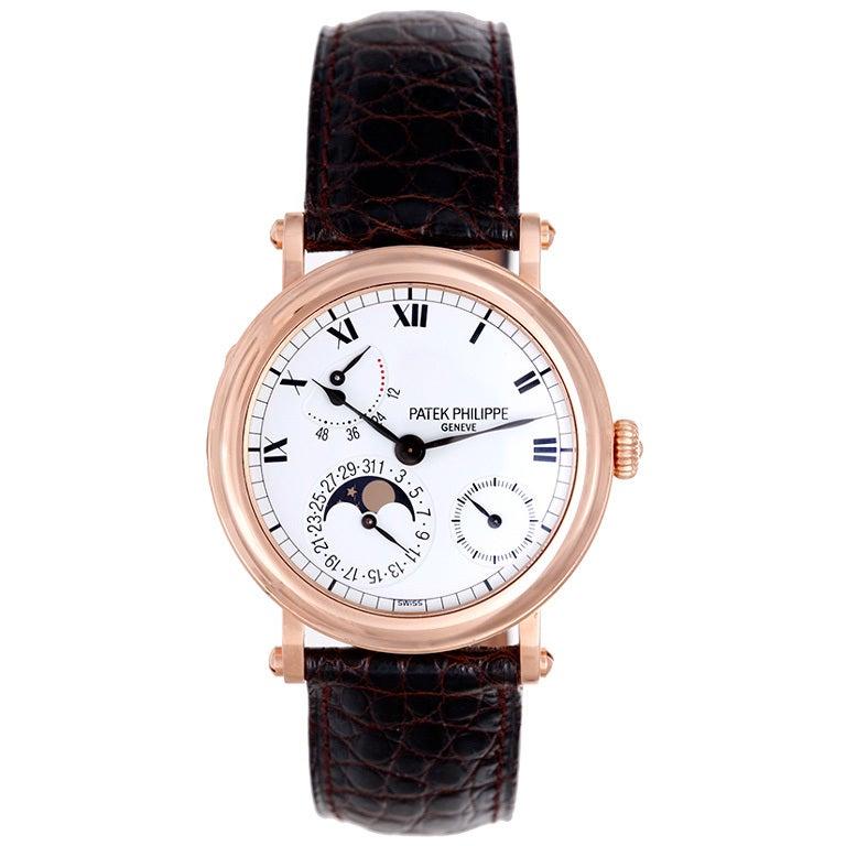 Patek Philippe Rose Gold Moonphase Calendar Wristwatch Ref 5054R