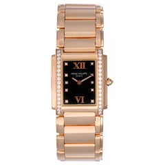 Patek Philippe Lady's Rose Gold and Diamond Twenty-4 Bracelet Watch