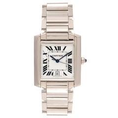 Cartier White Gold Tank Francaise Wristwatch