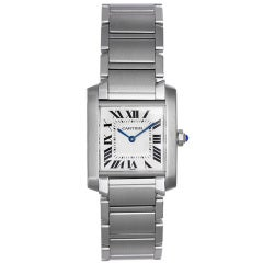 Cartier Stainless Steel Midsize Tank Francaise Wristwatch
