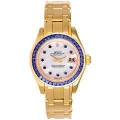 Rolex Lady's Yellow Gold and Sapphire Masterpiece Pearlmaster