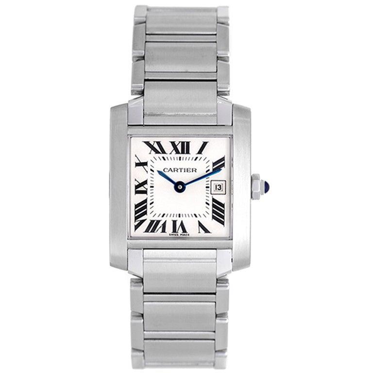 Cartier Stainless Steel Tank Francaise Quartz Wristwatch 1