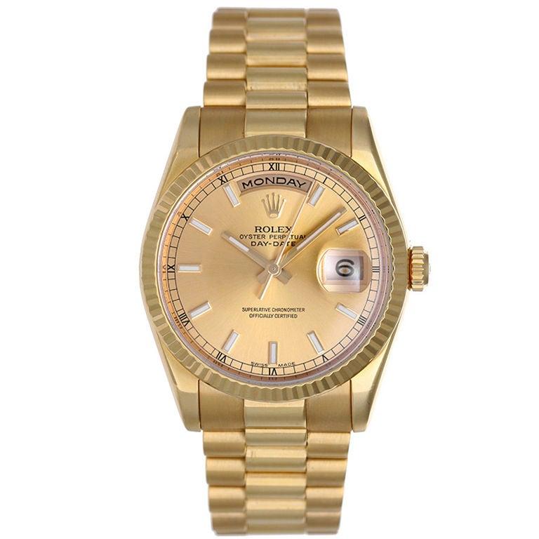 Classic Rolex President Day-Date Men's Gold Watch 118238