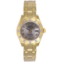 Rolex Lady's Yellow Gold and Diamond Masterpiece Pearlmaster