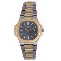 Patek Philippe Lady's Stainless Steel and Yellow Gold Nautilus Wristwatch