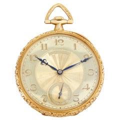 Patek Philippe Yellow Gold Ornately Engraved Pocket Watch