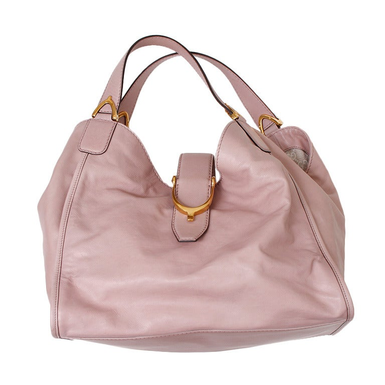Gucci Soft Stirrup Light Pink Leather Shoulder Bag