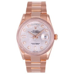Rolex Rose Gold Day-Date Wristwatch with Diamond Meteorite Dial