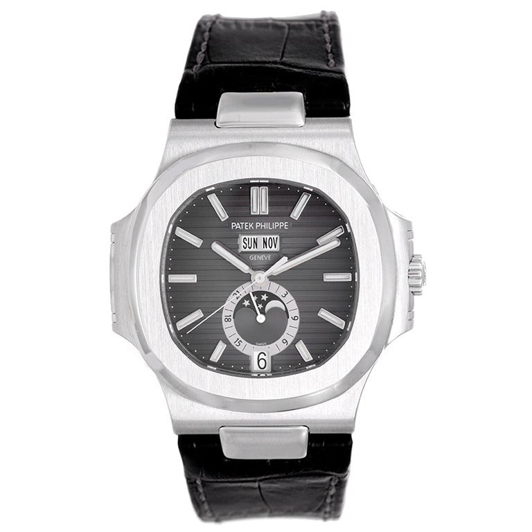 Patek philippe stainless steel nautilus moonphase wristwatch ref 5726a at 1stdibs for Patek philippe moonphase