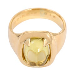 Hermes Sugarloaf Citrine Gold Ring