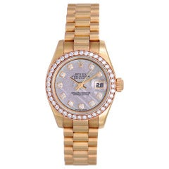 Rolex Lady's Rose Gold and Diamond President Wristwatch with Meteorite Diamond Dial