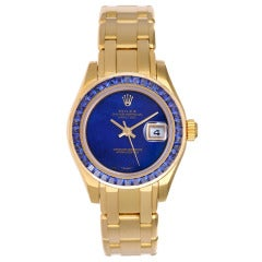 Rolex Lady's Yellow Gold and Sapphire Masterpiece Pearlmaster Wristwatch