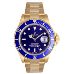 Rolex Yellow Gold Submariner Wristwatch with Blue Dial Ref 16618