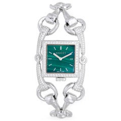 Gucci Lady's White Gold and Diamond Signoria Bracelet Watch with Green Malachite Dial