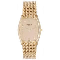 Patek Philippe Yellow Gold Tonneau Bracelet Watch Ref 3842/1