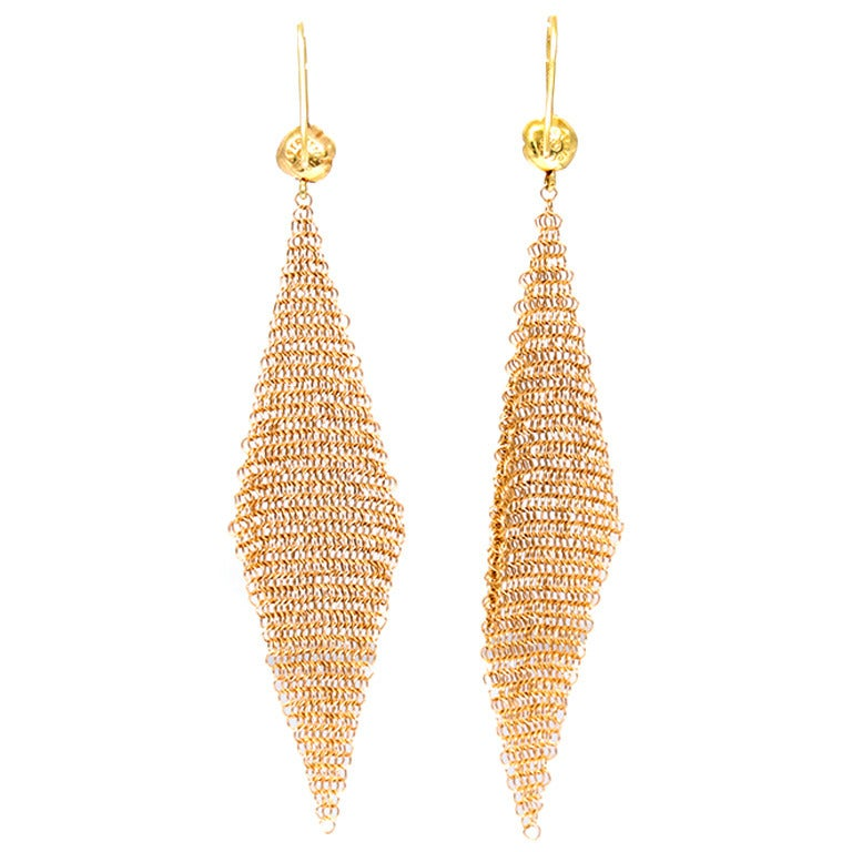 Elsa Peretti Yellow Gold Mesh Earrings With Original Box For