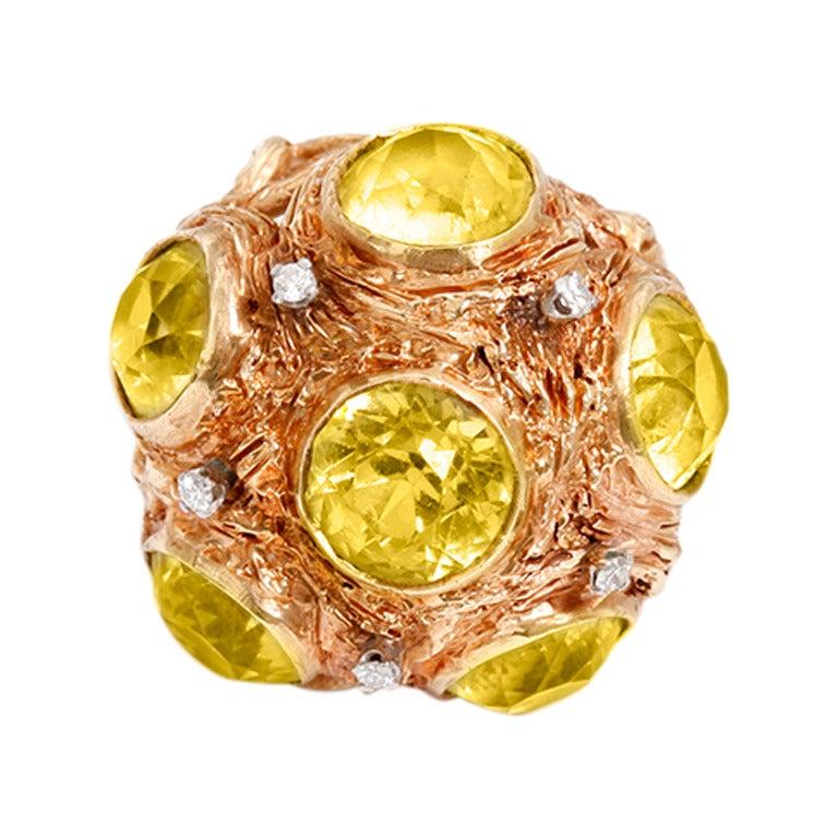 Beautiful Peridot Yellow Gold Diamond Dome Ring For Sale