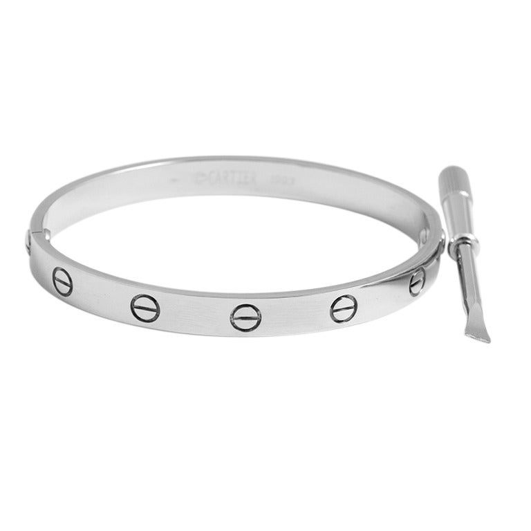 Cartier Love Bracelet White Gold With Box And Driver For