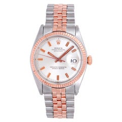 Rolex Stainless Steel and Rose Gold Datejust Wristwatch Ref 1601