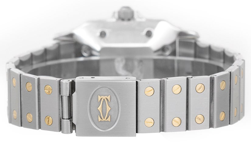 Cartier Stainless Steel and Yellow Gold Santos Midsize Wristwatch 2