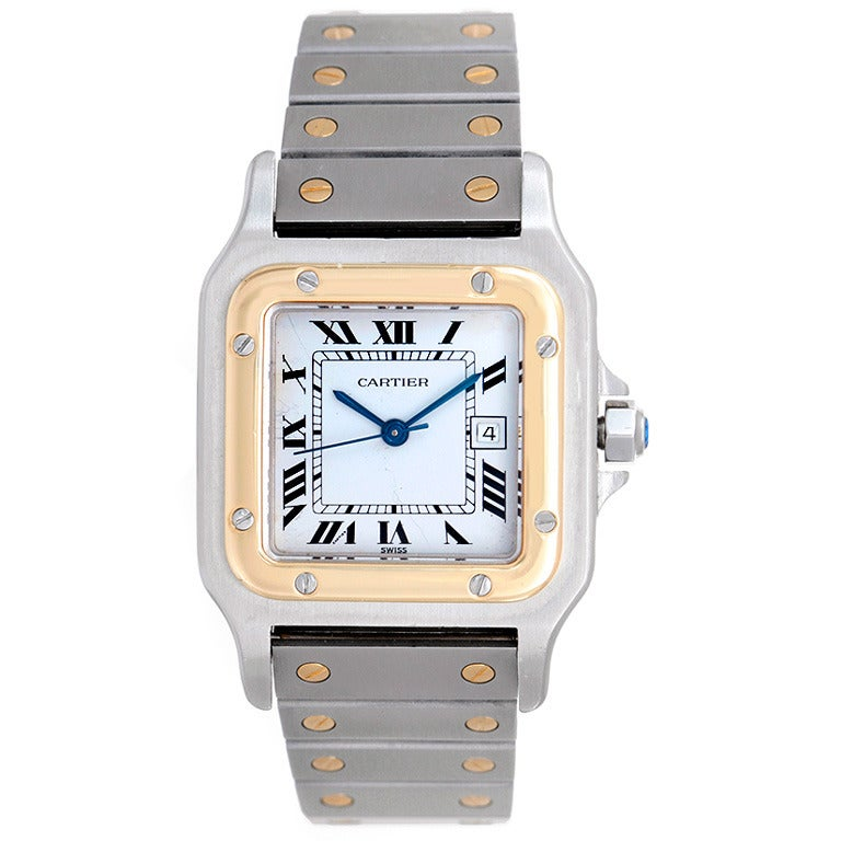 Cartier Stainless Steel and Yellow Gold Santos Midsize Wristwatch 1