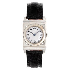 Longines White Gold Ivory Colored Dial Hinged Lugs Manual Wind Wristwatch