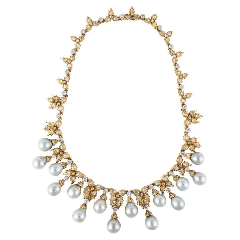 BUCCELLATI Diamond and Cultured Pearl Necklace For Sale