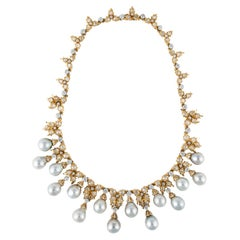 Buccellati 18K Yellow Gold Diamond and Cultured Pearl Necklace