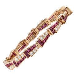 Oscar Heyman & Bros. Ruby Diamond Gold Bracelet