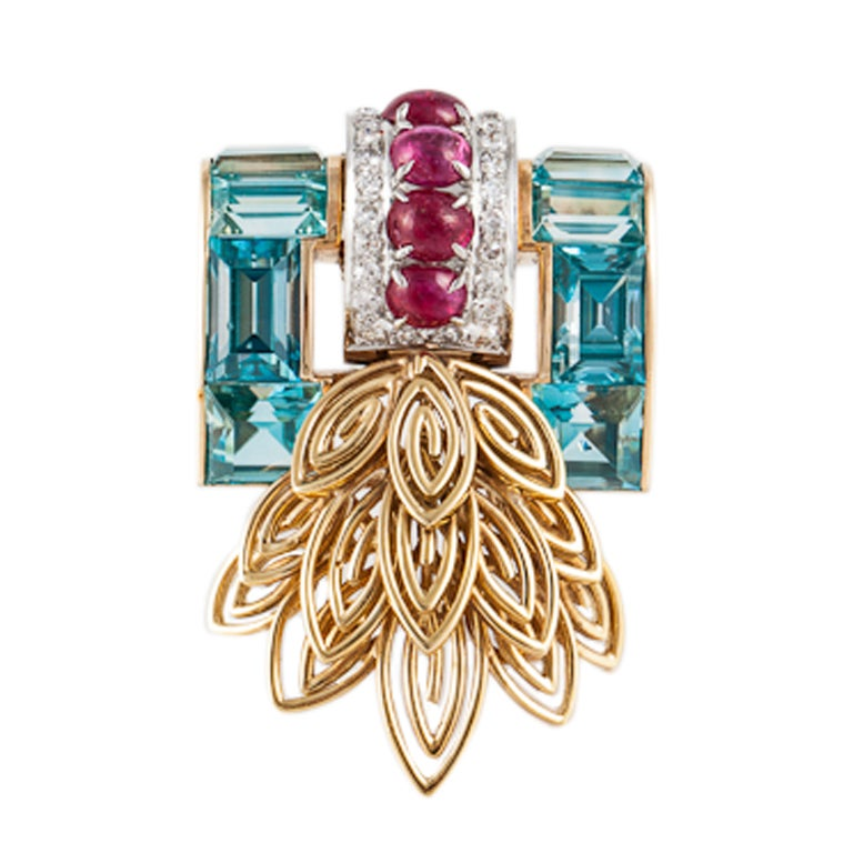 Retro Aquamarine, Ruby, Diamond, and Yellow Gold Pin