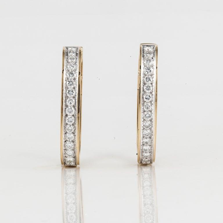 David Webb Diamond Gold Hoop Earrings 2
