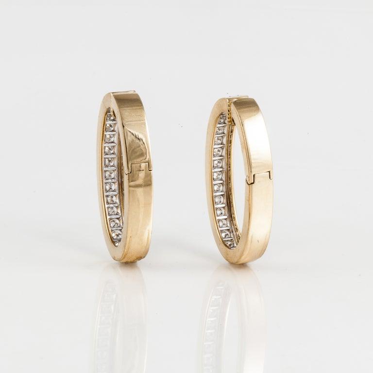 David Webb Diamond Gold Hoop Earrings 3