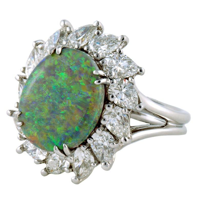 Black Opal, Diamond, and Platinum Ring.