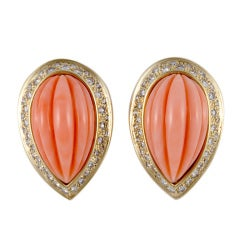 David Webb Coral and Diamond Yellow Gold Earrings