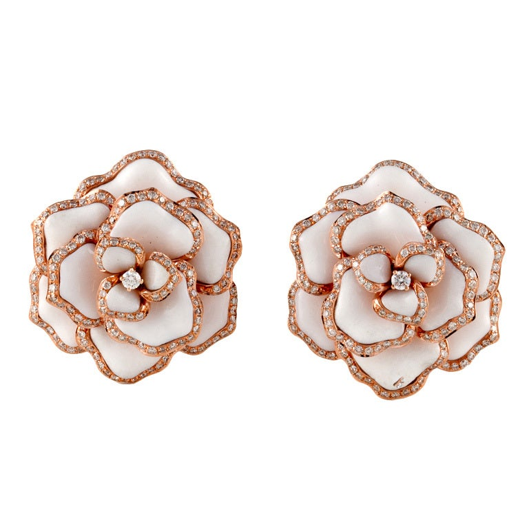 Rose Gold Flower Earrings 1