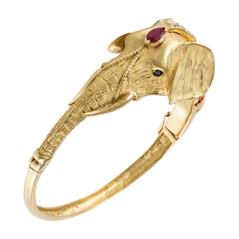 Elephant Bangle Bracelet 1
