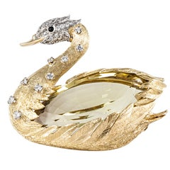 E. Wolfe & Co. Swan Brooch with Citrine in 18K Yellow Gold