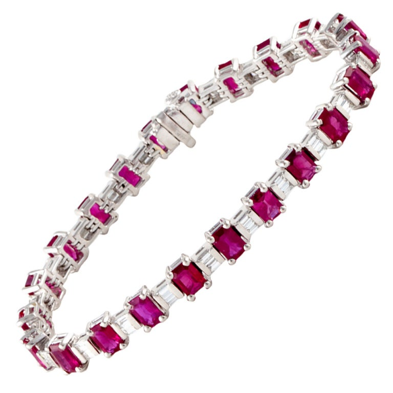 Ruby and Diamond Platinum Line Bracelet