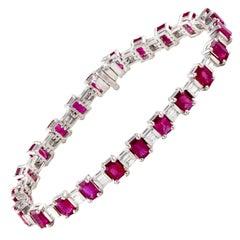 Ruby and Diamond Platinum Line Bracelet