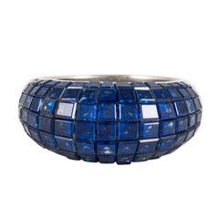 Invisible-Set Blue Sapphire Ring in Platinum