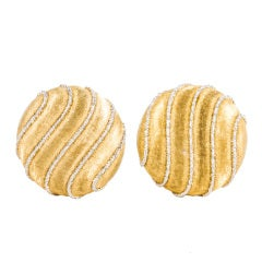 Buccellati Two Tone Button Style Earrings
