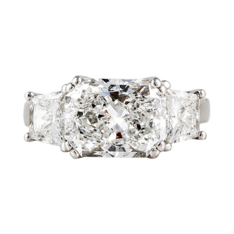 Radiant-Cut Diamond and Platinum Engagement Ring
