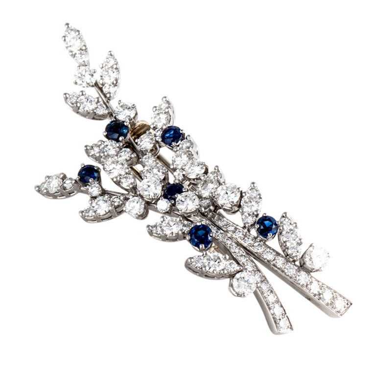 Tiffany & Co. Diamond & Sapphire Platinum Brooch