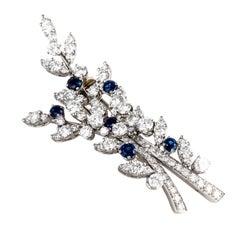 Tiffany & Co. Diamond & Sapphire Platinum Brooch