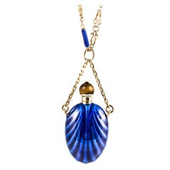 Blue Enamel Perfume Bottle Yellow Gold Necklace