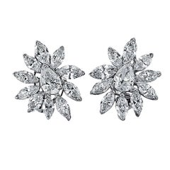 1960s Diamond Cluster Earrings in Platinum