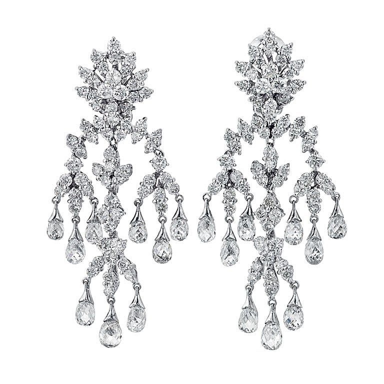 Contemporary Diamond Chandelier Earrings For Sale