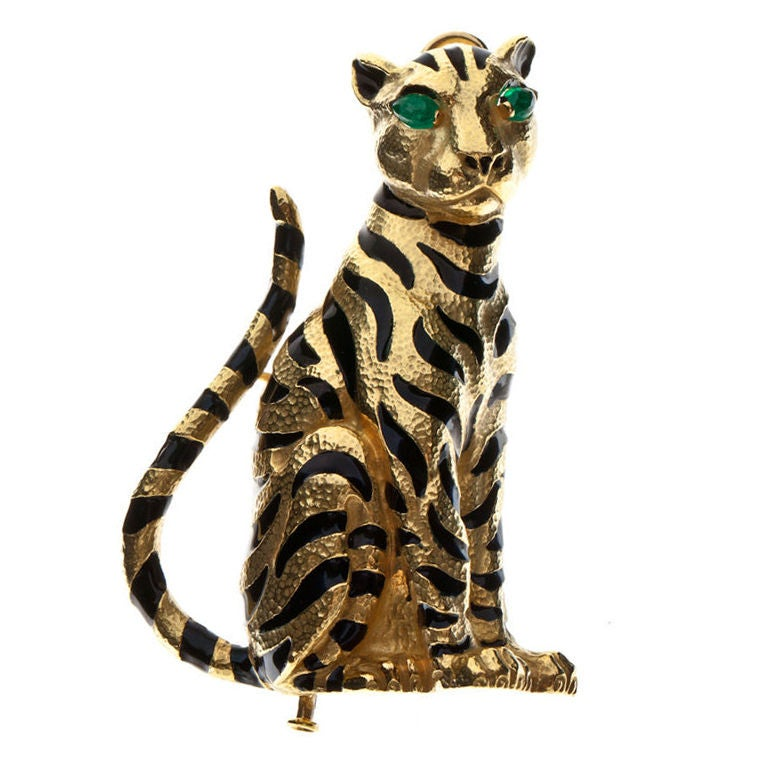 David Webb Enamel Emerald Gold Tiger Pin
