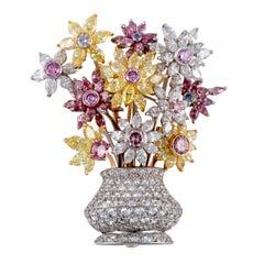 Diamond Flower Platinum and Yellow Gold Pin